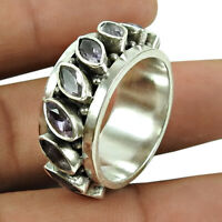 Marquise Shape Amethyst Gemstone Jewelry 925 Sterling Silver Ring Size L 1/2 D49