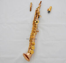 Professiona Rose Brass Soprano Saxello sax High F# G Keys saxophone Leather Case