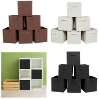 6 Foldable Fabric Storage Bins Cubes Drawers Organizer Container with Handles