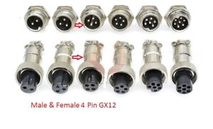Multi Contact Multi-Pin Connector Socket and Plug Microphone Aviation GX12 4 Pin