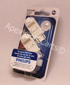 PHILIPS LED VISION 3157 RED P27/7 TWO BULB PARKING TURN SIGNAL LIGHT Ford Chevy