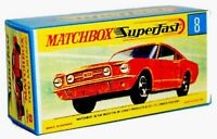 Matchbox Superfast No 8 G FORD MUSTANG empty Repro G style Box