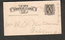 c 1885 Liberty postal card H Van Kirk Rusk Lake WI to B C Van Keuren Oshkosh
