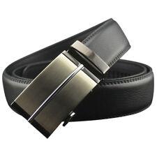 QHA Mens Black Stitched Leather Automatic Buckle Suit Trouser Waist Belt 42-46 Q5019 48