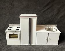 Wood Dollhouse Furniture Lot | White Kitchen Fridge Stove Modern Gourmet M9031