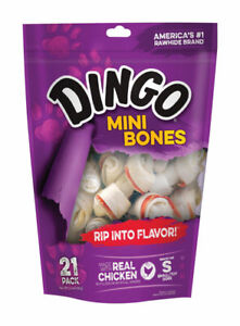 Dingo  Small  Adult  Rawhide Bone  Beef  2.5 in. L 21 pk