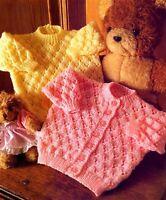 """Eyelet Baby Round Neck Cardigan & Sweater 16"""" -22"""" DK  Knitting Pattern"""