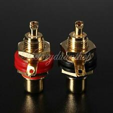 NEW 2pcs Gold Plated RCA Phono Female Chassis Panel Mount Jack Socket Connector