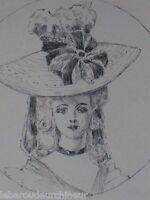 ancien dessin femme élégante
