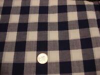 Vintage Cotton Fabric LARGE NAVY BLUE & WHITE CHECK PLAID 1 1/2 Yds