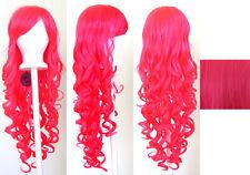 29'' Long Curly w/ Long Bangs Hot Pink Cosplay Wig NEW