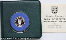 1986 Jersey Parish of St Peter Silver Proof £1 One Pound Coin with cert box