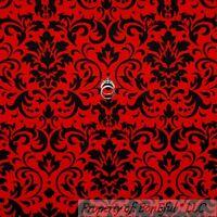 BonEful Fabric FQ Cotton Quilt Red Black Flower Damask Victorian Dot Heart Xmas