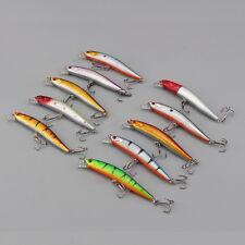 Lot 10 PCS Kinds of Fishing Lures Crankbaits Hooks Minnow Baits Tackle Tools