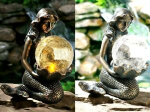 New Bronze Solar Mermaid With LED Light Crackle Ball Garden Decoration H24cm/9""