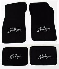 New! Black Carpet Floor Mats 1967-1976 Dodge Dart Swinger Logo Silver on All 4
