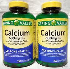Spring Valley 600mg Calcium +Vitamin D3 800 IU Bone Health 500 Coated Tabs 2/18+