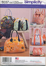 SIMPLICITY SEWING PATTERN 8037 BACKPACK TOTES & COSMETIC BAGS W/ CONTRAST FABRIC