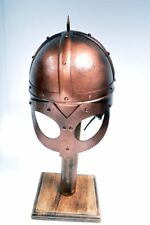 VIKING SPIKED  STEEL BRONZE FINISH HELMET, LEATHER LINED &STRAPPED ADULT SIZE.