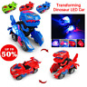 Transforming Dinosaur LED Car T-Rex Toy With Light Sound Kids Electric Xmas Gift