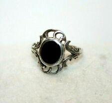 Filigree Size 7 Ring 925 Sterling Silver Black Onyx
