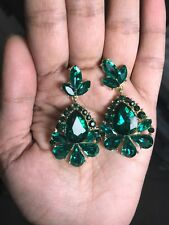 "2"" Green Emerald Gold Long Teardrop Crystal Pageant Bridal Earrings Formal"