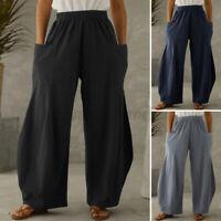 UK Womens Elastic Waist Wide Leg Cotton Trousers Ladies Casual Loose Baggy Pants