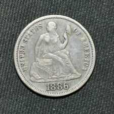 1886 S Seated Liberty Dime, 10 Cents. Key Date Only 206,524 Minted, Nice