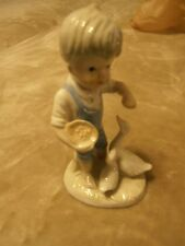 Vintage Porcelain Blue And White young Boy Figurine With ducks