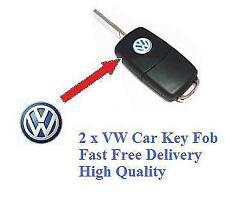 2 x VW Voiture Clé Fob Remote Badge Logo emblème Polo Golf Passat Bora Sirocco