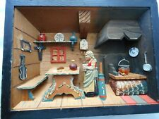 Vintage German Diorama Shadow Box Kitchen Scene Wood Hand Painted Carved Wood