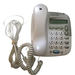 BT Decor 1200 White Corded Telephone Caller ID Hands Free Wall Mountable Used