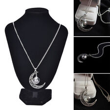 Wish Glass Moon Dandelion Seeds in Glass Pendant Long Necklace Lady Gift WC