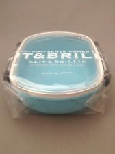 New Lunch Box Bento Blue 13.5 cm x 15.0 cm  Plastic Made in Japan Free Shipping