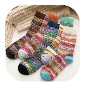 5 Pairs Women Ladies Thick Winter Thermal Socks Warm Wool Nordic Novelty Sock