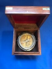 """Maritime Marine Nautical Compass In Wood Box 3.50"""" Old Vintage Navigational Tool"""
