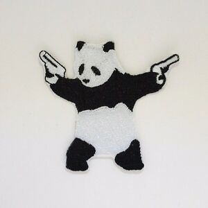 Panda with Guns Patch - Iron On Badge Embroidered Motif - Bear Funny #299