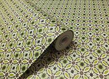 Verdes, gris/marrón y blanco, letra pequeña, Diseño Retro Wallpaper (pega la Pared)