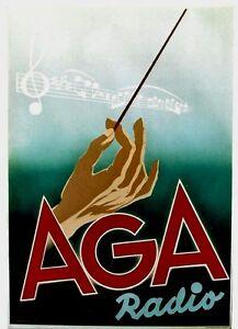 Original vintage poster AGA RADIO MUSIC CONDUCTOR 1940
