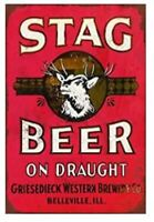 STAG BEER TIN SIGN BREWING BOTTLE AD ADVERTISEMENT POSTER MAN CAVE BAR PUB