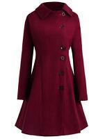 Winter Plus Size L-4XL Women Hooded Buttons Long Sleeve Long Coat Jacket Outwear