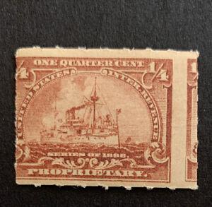 H3/41 US Stamps Revenue Proprietary RB21 Perf Error 1/4c MNHOG Nice Error Coll