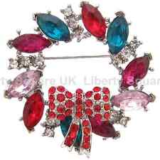 Silver Multi Coloured Wreath Brooch / Christmas Brooch / Festive Brooch  #145