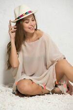 Summer Beach dress Bikini Cover up Kaftan Tunic tassel Fringe Beige Embroidery