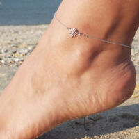 Flower Lotus Anklet Chain Ankle Bracelet Barefoot Sandal Beach Foot Jewelry