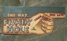 Fishin' Hole Vintage Style Sign Flag Lake Cabin Fishing Line Rod Lures Decor 12""