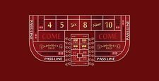 Craps table layout single dealer 6 to 8 foot burgundy