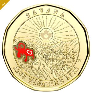 New 2021 Canada 125th Anniversary of Klondike Gold Rush COLOURED $1 Loonie