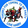 AVENGERS MARVEL PERSONALISED GLOSS BIRTHDAY PARTY BAG, SWEET CONE STICKERS