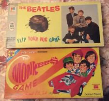 1964 The Beatles Wig Game & 1967 The Monkees Hey Hey Game Board Ships Fast